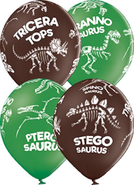 """Dinosaurier Skelett Pastel Sortiment 30cm 12"""" Latex Luftballons Belbal"""