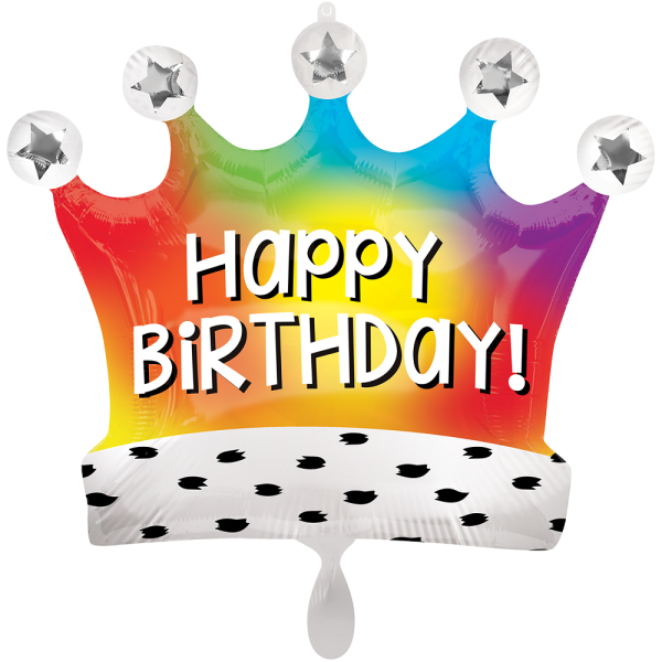 Happy Birthday Rainbow Crown Satin Folienballon - 68cm 27''