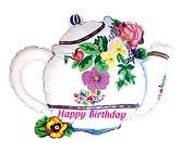 Teekanne Geburtstag Blumen - 58cm