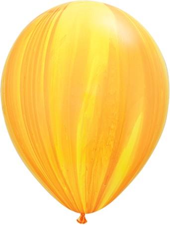 Qualatex Latex Ballons Yellow Orange Rainbow SuperAgate Regenbogen gelb marmoriert - 27,5cm