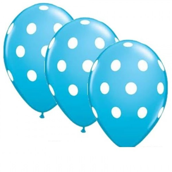 "Big Polka Dots Robins Egg Blue 27,5cm 11"" Latex Luftballons Qualatex"