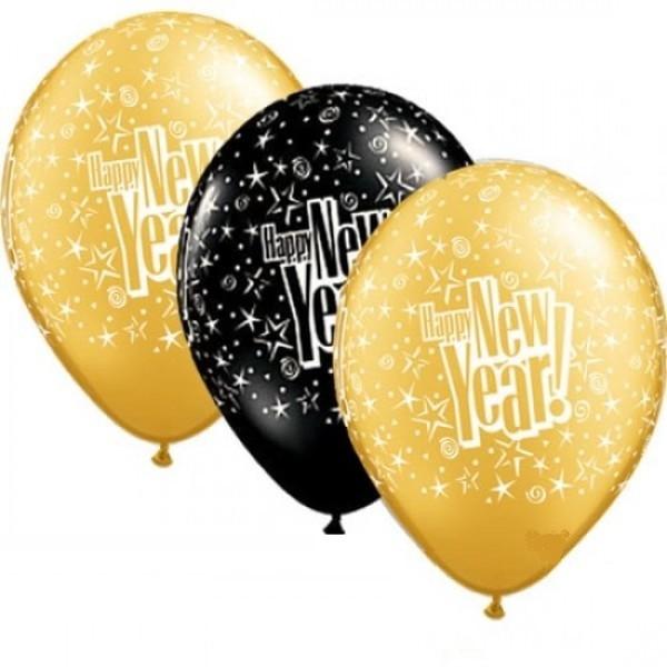 """Happy New Year Starblast Schwarz und Gold 27,5 cm 11"""" Latex Luftballons"""