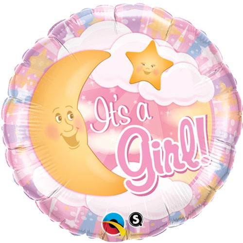 Baby Girl mit Mond rosa Folienballon - 45cm
