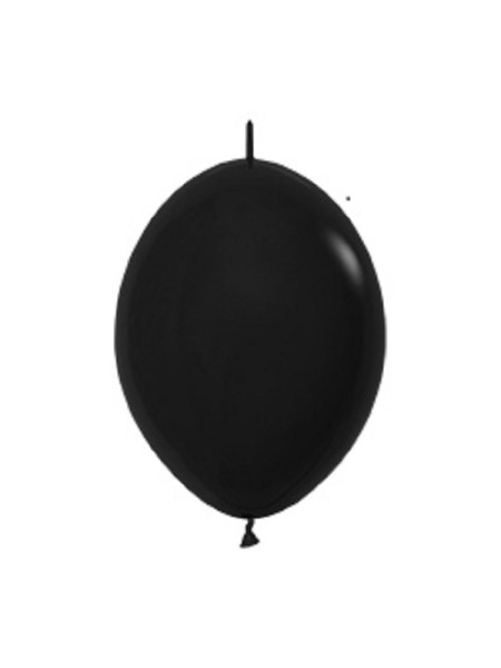 "Link o Loon 080 Fashion Black (Schwarz) 15cm 6"" Latex Luftballons Sempertex"