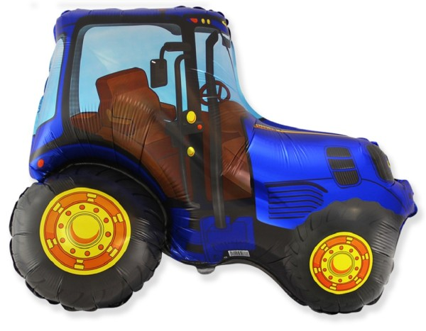Traktor Blau Folienballon - 95cm x 73cm