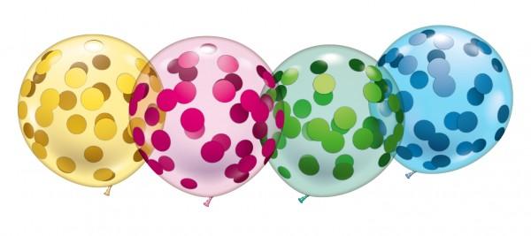 4 Riesenkristallballons/Konfetti Latex Luftballon ca. 48cm