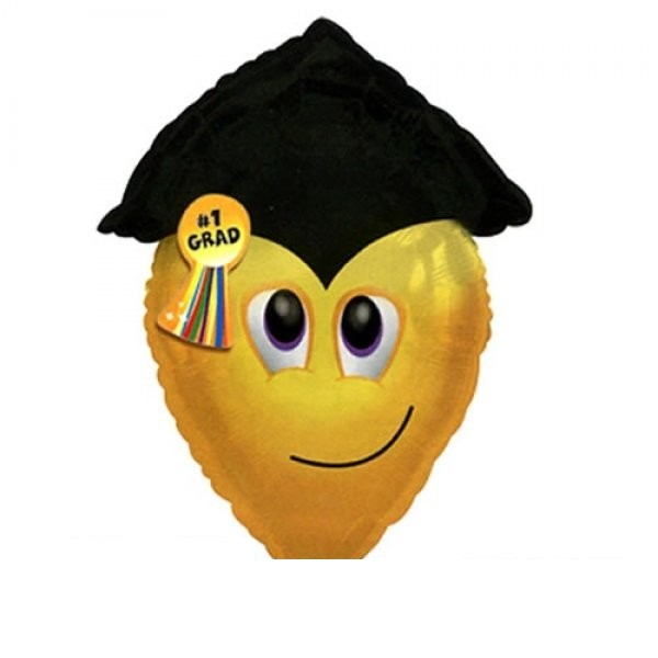 Smiley Gesicht mit Gradmütze - Folienballon - 63cm