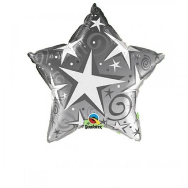 Mini Folienballon Starblust Stern silber - 22,5cm