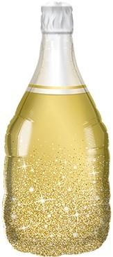 Goldene Weinflasche Folienballon - 99cm