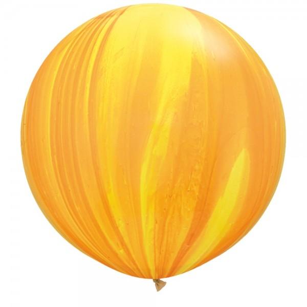 """Qualatex SuperAgate Yellow Orange Gelb Orange Rainbow Regenbogen marmoriert 75cm 30"""" Latex Luftball"""