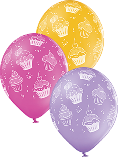 "Cupcakes Pastel Sortiment 30cm 12"" Latex Luftballons Belbal"