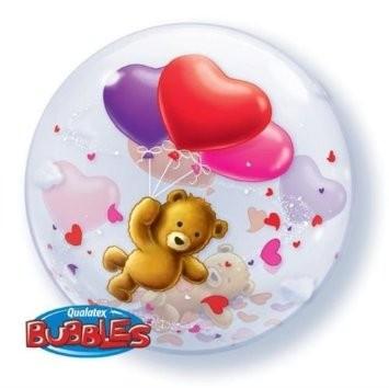"Qualatex Bubble Teddybär mit Herzen 22"" 56cm Luftballon"