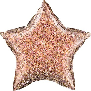 Folienballon Stern Glittergraphic Rose Gold - 50 cm