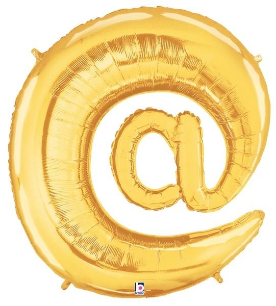 """AT"" Symbol @ Gold Folienballon - 101cm"