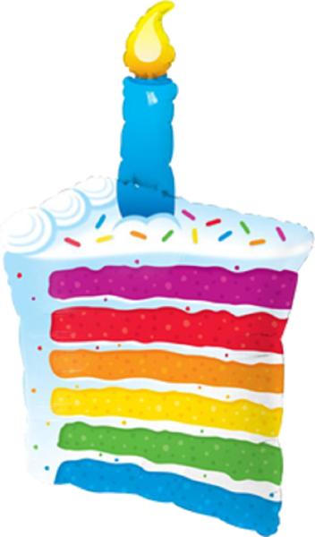 Rainbow Cake und Candle Folienballon - 107cm 42''