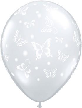"Butterfly Schmetterling Diamond Clear 12,5cm 5"" Latex Luftballons Qualatex"