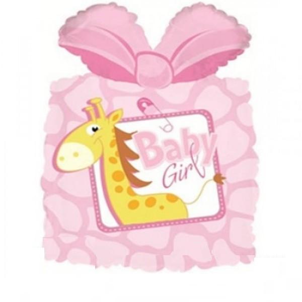 Baby Geschenk mit Giraffe Folienballon - 63cm