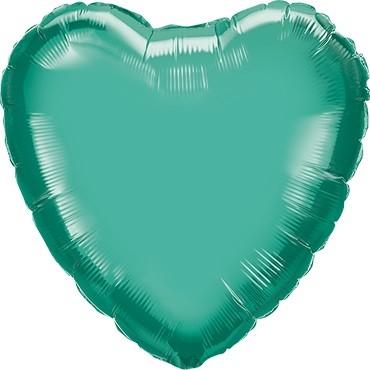 Folienballon Herz Chrome Green (grün) - 45 cm