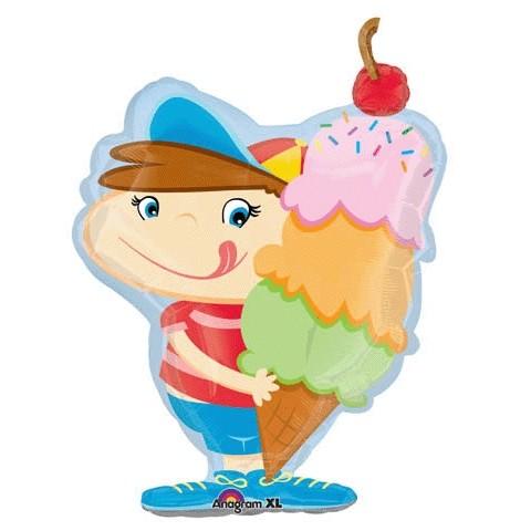 Junge mit Eis Folienballon - 79cm