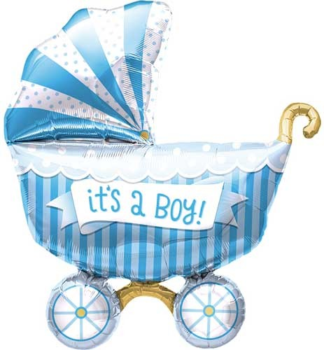 Mini Folienballon Baby Boy Kinderwagen Junge Buggy Blau - 35cm