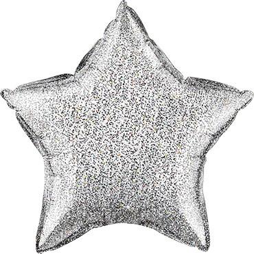 Folienballon Stern Glittergraphic Silver (Silber) - 50 cm