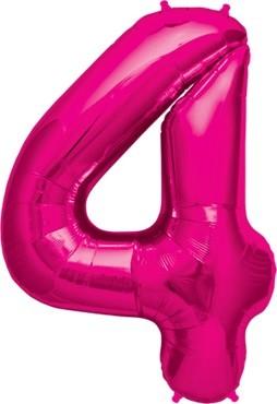 North Star Folienballon Zahl 4 (magenta) - 86cm