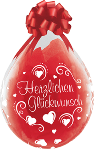 "Verpackungsballons Herzlichen Glückwunsch Herzen 45cm 18"" Qualatex Stuffer"