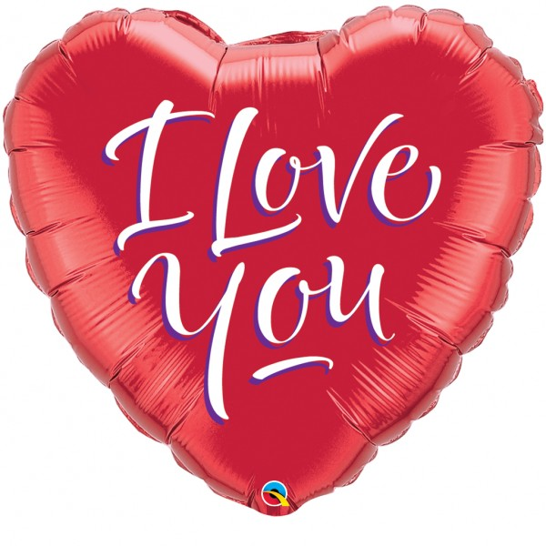 Folienballon Qualatex Jumbo Herz mit Text I love you