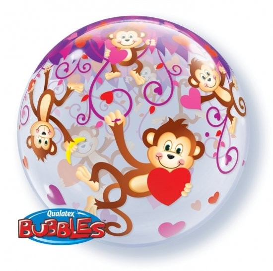 "Qualatex Bubble Affen mit Herzen 22"" 56cm Luftballon"