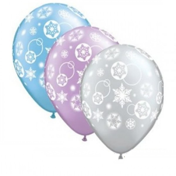 Snowflakes & Circles Around Pearl Latexballon - 27,5cm
