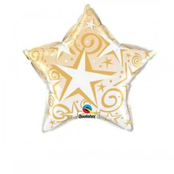Mini Folienballon Starblust Stern gold - 22,5cm