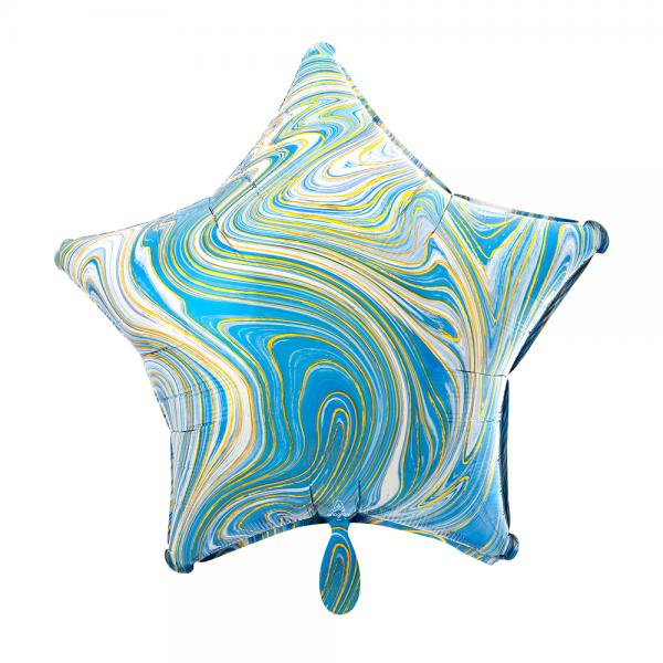 Stern marmoriert Marblez Blue Folienballon - 43cm 17''