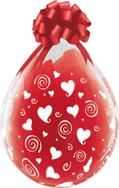 "Verpackungsballons Swirling Hearts 45cm 18"" Qualatex Stuffer"