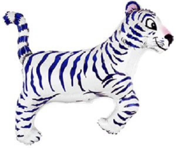 Tiger Blau Weiß Streifen Folienballon - 90 x 76cm