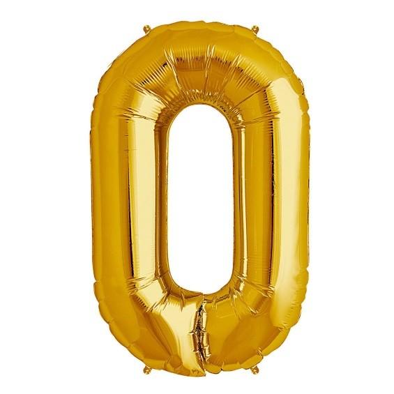 North Star Folienballon Zahl 0 (gold)