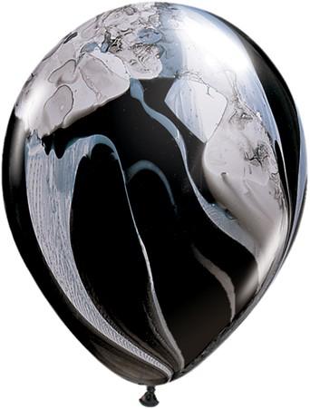 """Qualatex SuperAgate Black und White schwarzweiß marmoriert 27,5 cm 11"""" Latex Luftballons"""