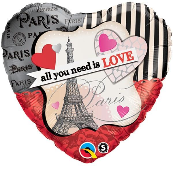 Folienballon Herz Paris 'all you need is love' - 46cm