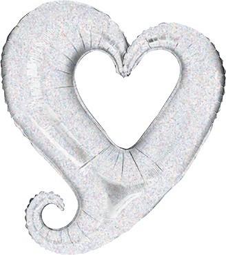 Chain of Hearts Silver Folienballon - 35cm