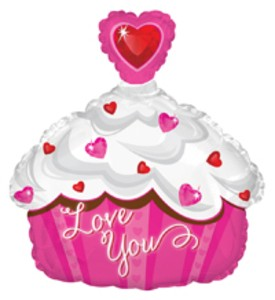 Mini Folienballon Folienballon Airfill Only Love you Cupcake - 30cm
