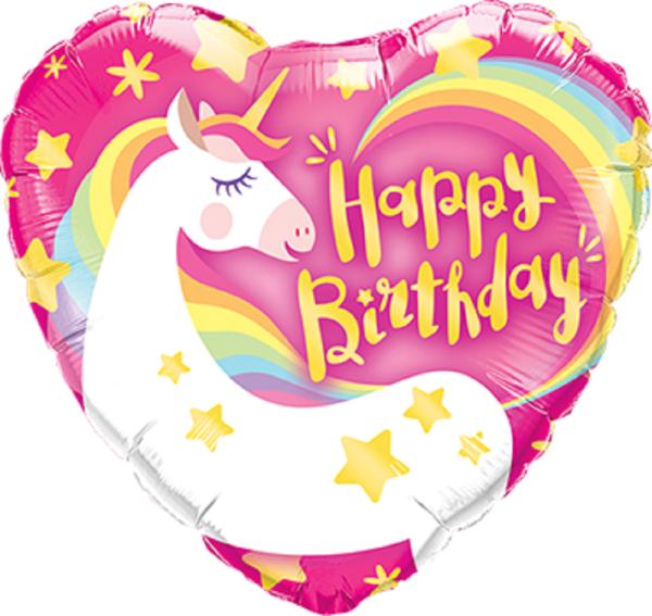 Mini Folienballon Happy Birthday Einhorn Regenbogen - 22,5cm
