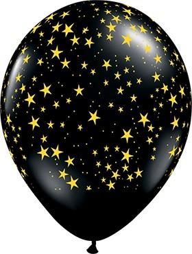 "Sterne / Stars schwarz Gold 27,5cm 11"" Latex Luftballons Qualatex"