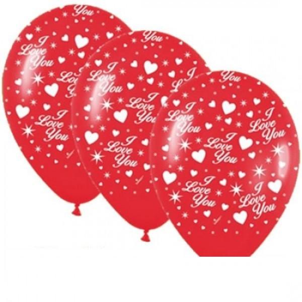 "I love you mit Herzen 27,5cm 11"" Latex Luftballons Qualatex"