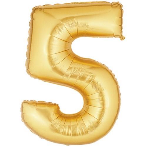 Große Folienballon Zahl 5 (gold)