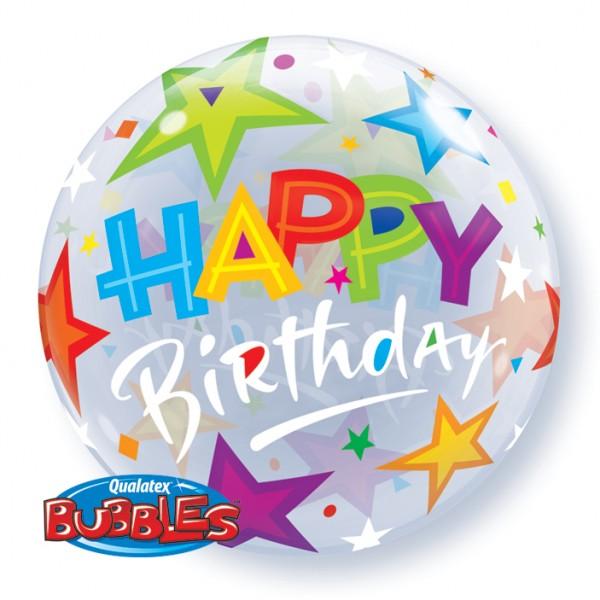 Qualatex Bubble Luftballons Happy Birthday - 61cm