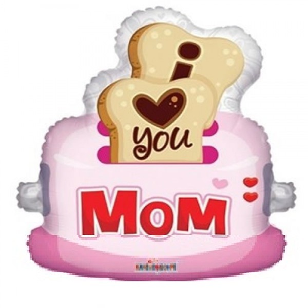 I Love You Mom Toaster Folienballon - 81cm