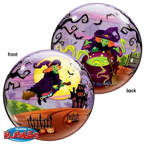 "Qualatex Bubble fliegende Hexe Halloween 22"" 56cm Luftballon"
