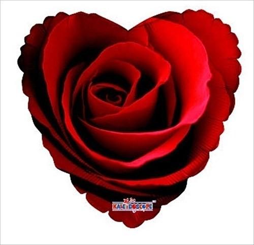 Folienballon Herz mit Rosenblüte