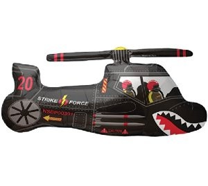 Mini Folienballon Schwarzer Hubschrauber - 35cm