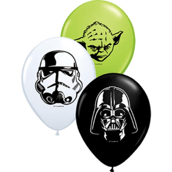 "Qualatex Star Wars Faces White, Onyx Black und Lime Green 12,5 cm 5"" Latex Luftballon"