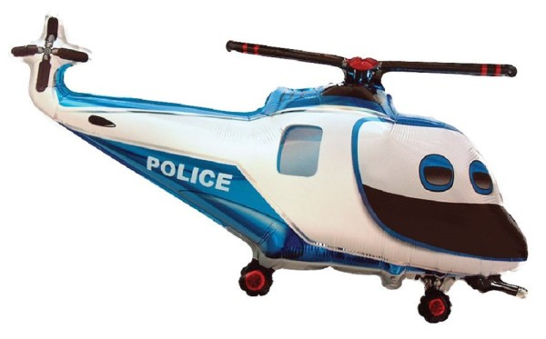 Helikopter Polizei Police Hubschrauber Blau Folienballon - 96 x 57cm